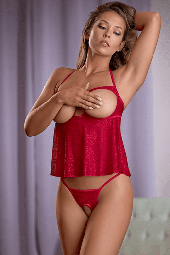 Red Hypnotic Swirl Cupless Babydoll & Crotchless Thong Set