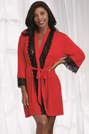 Red Jersey & Lace Robe