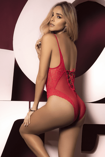 Red Lace Back Lace Up Teddy