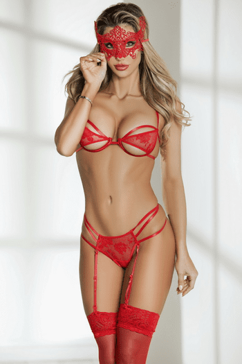 Red Lace Bra, G-String, Mask & Stocking Set
