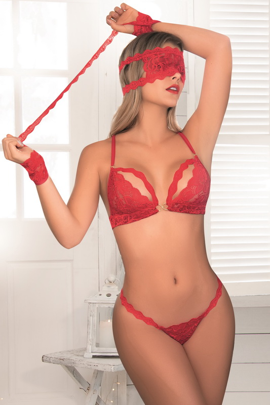 and Garter Set Red Sheer Cage Style Bra Thong Panty