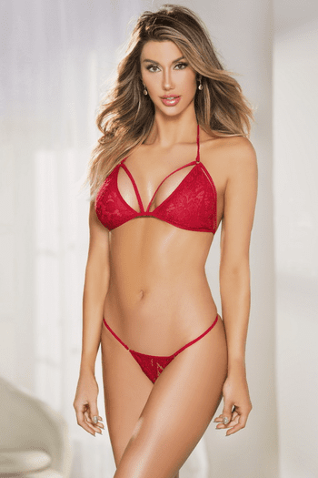 Red Lace Bra & Robe Set