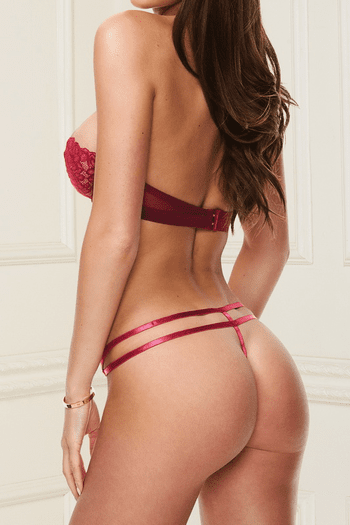 Red Lace Bra & Strappy G-String Set