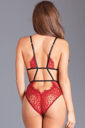 Red Lace Cut Out Teddy