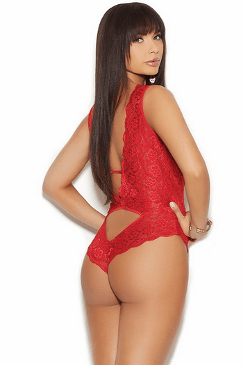 Red Lace Deep V Teddy