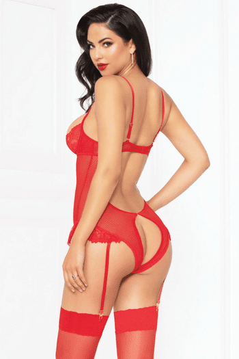 Red Lace Demi Cup Teddy Set