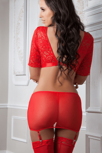 Red Lace Gartered Chemise Set