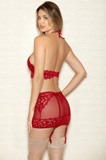 Red Lace Halter Bra Set