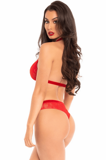 Red Lace Heart Ring Bra Set