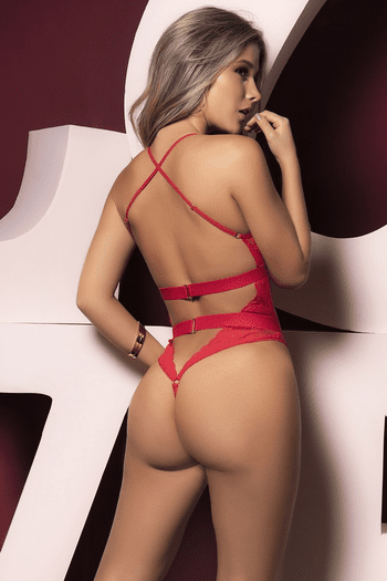 Red Lace High Leg Cut-Out Teddy