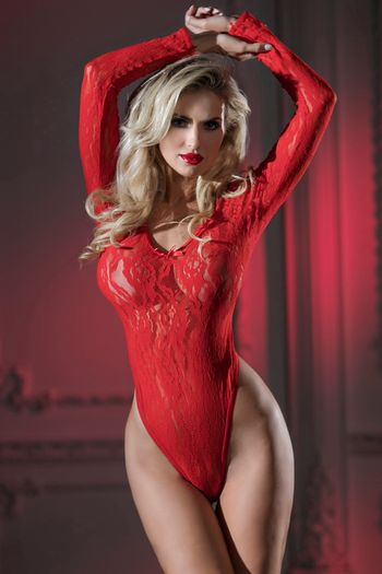 Red Lace Long-Sleeve Teddy