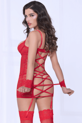 Red Lace & Mesh Chemise & Handcuffs Set