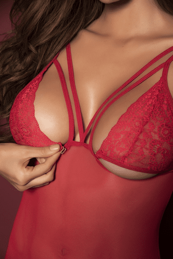 Red Lace & Mesh Gartered Chemise