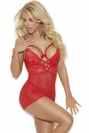 Red Lace & Mesh Strappy Chemise