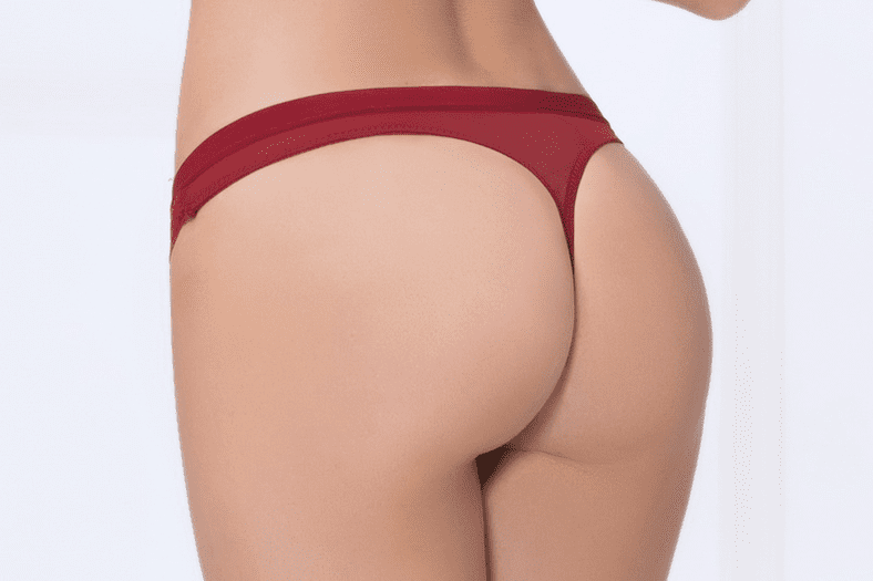 Red Lace & Mesh Thong