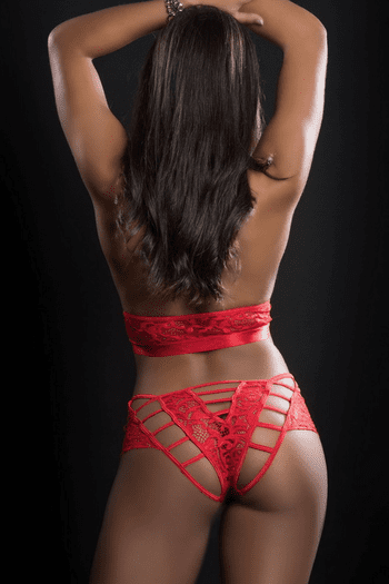 Red Lace O-Ring Boyshort & Halter Top Set