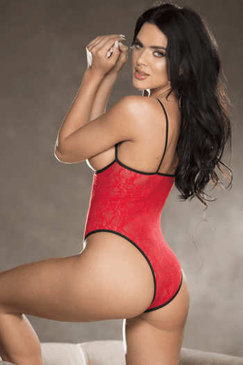 Red Lace Open Bust Teddy