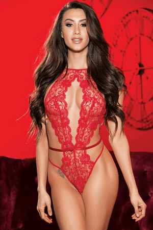 Red Lace Open Front Teddy