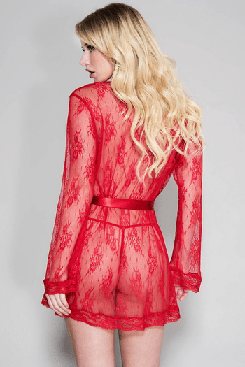 Red Lace Robe with Satin Belt