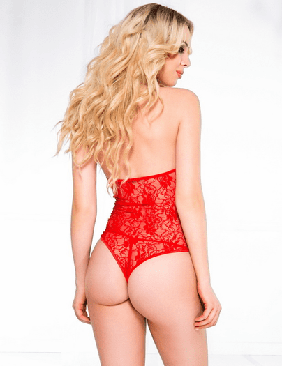 Red Lace Strappy Teddy