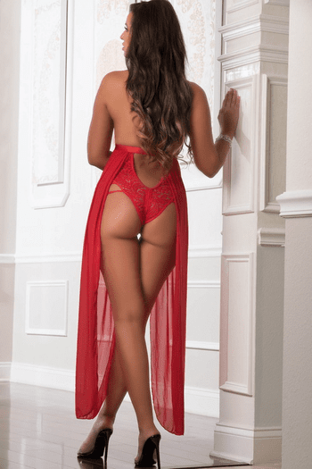Red Lace Teddy Gown