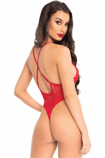 Red Lace Up Front Teddy