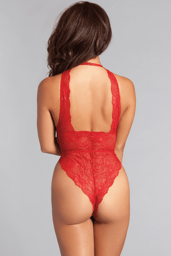Red Lace Up Halter Teddy