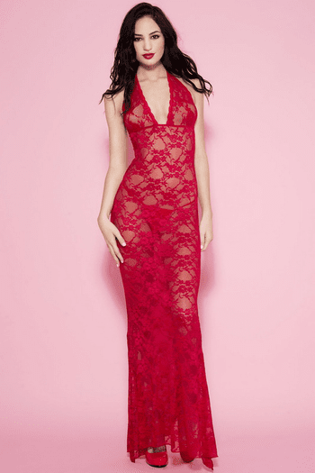 Red Long Lace Halter Gown