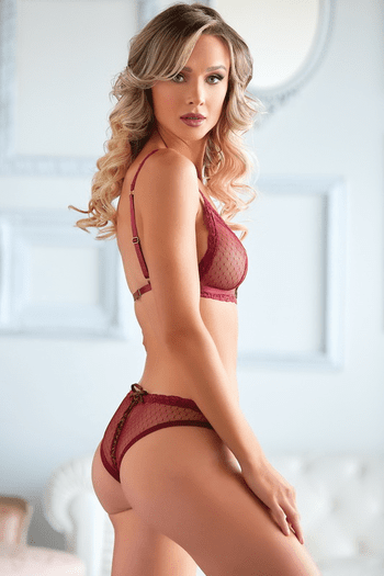 Red Mesh Bralette & Lace Up Back Panty