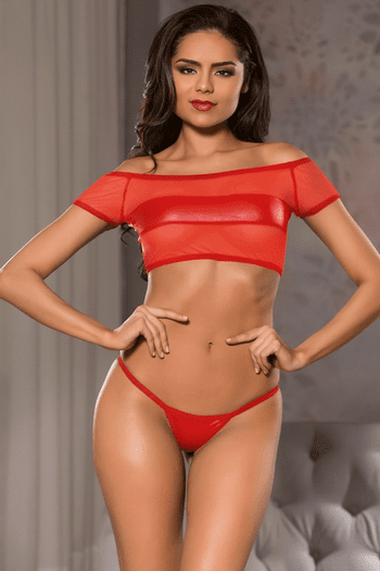 Red Mesh Crop Top & G-String Set