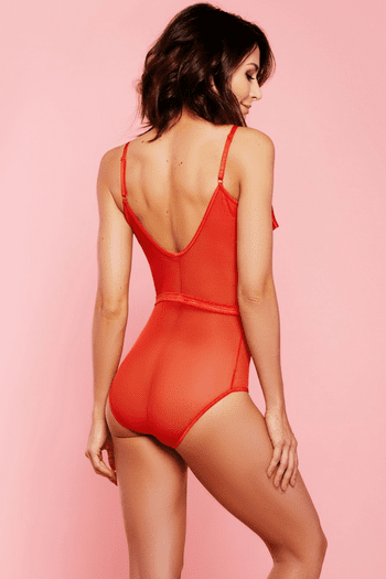 Red Mesh Open Bust Teddy