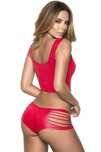 Red Naughty Wet look Slashed Top