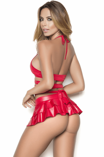 Red Naughty Wet look Wraparound Top