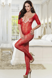 Red Open Crotch Bodystocking