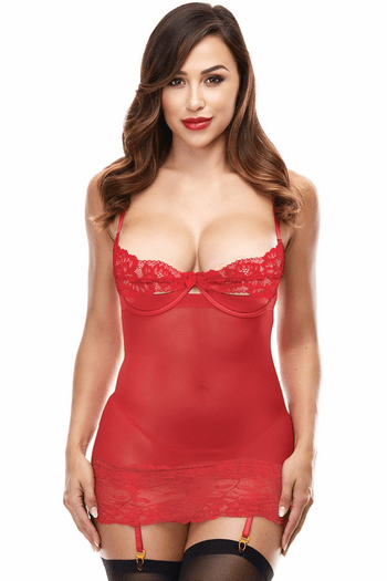 Red Open Cup Gartered Chemise