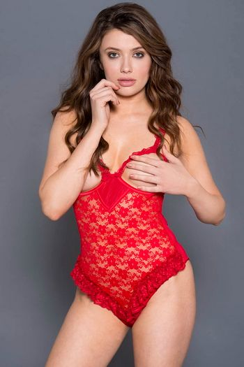 Red Open Cup Lace & Ruffle Trim Teddy