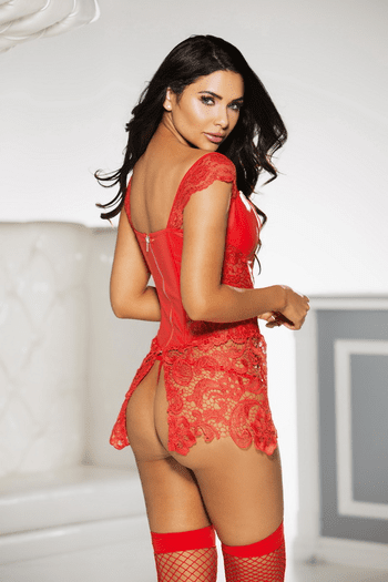 Red Passion Lace Up Front Corset & Thong Set