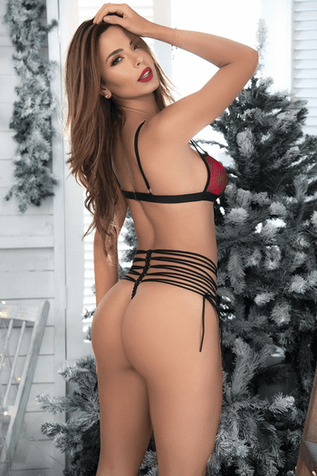 Red Plaid Cage Bra & Strappy Panty Set