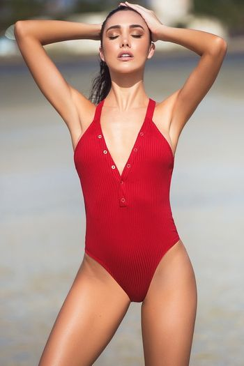 Red Ribbed Monokini