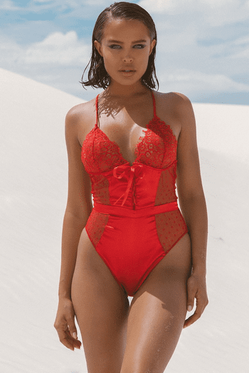 Red Satin and Lace Teddy