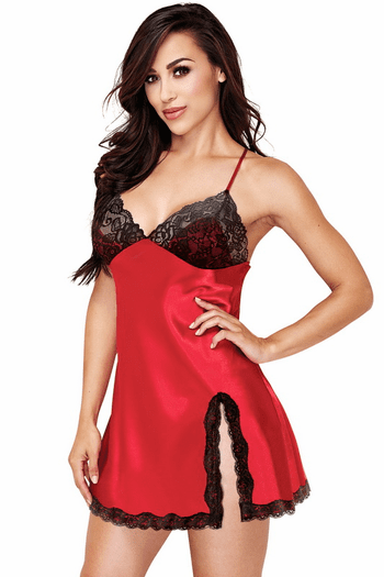 Red Satin Lace Chemise & Panty Set