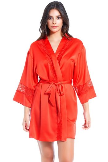 Red Satin & Lace Insert Robe