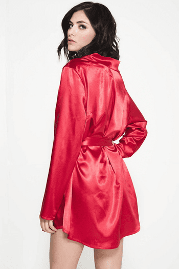 Red Satin & Scalloped Lace Robe