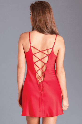 Red Soft Lace Up Chemise