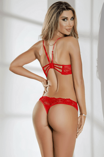 Red Strappy Lace Teddy