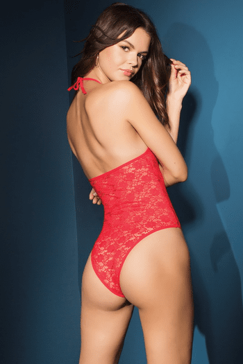 Red Stretch Lace Teddy