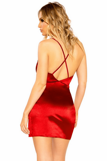 Red Stretch Satin Overlap Scrunched Dress