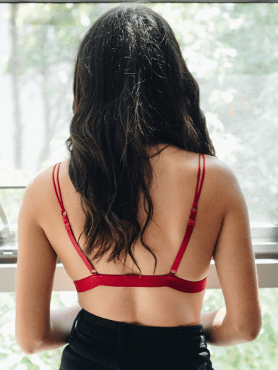 Red Sultry Eyelash Lace Bralette
