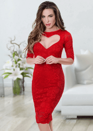 Red Sweetheart Lace Bodycon Dress