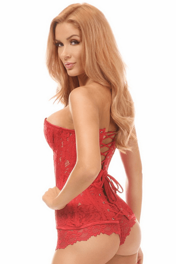 Red Underwire Sheer Lace Corset